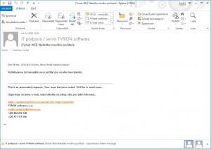Potvrzení přijetí požadavku - potvrzovací e-mail z podpora.tyrionsw.eu