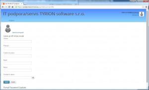 První přihlášení - vyplnění údajů zákazníka pro podpora.tyrionsw.eu